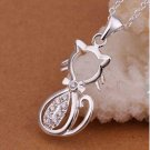 CAT shaped Necklace kitty 925 Silver Necklaces Pendants Sterling Silver Jewelry