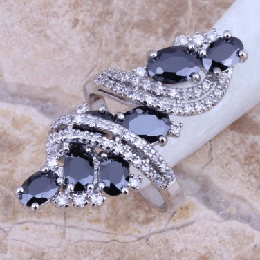 Black Sapphire White Topaz 925 Sterling Silver Overlay Ring