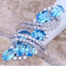 Sterling Silver Rings Womens Ring Swiss Blue & White Topaz 925