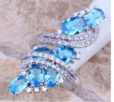 Sterling Silver Rings Womens Ring Swiss Blue & White Topaz 925