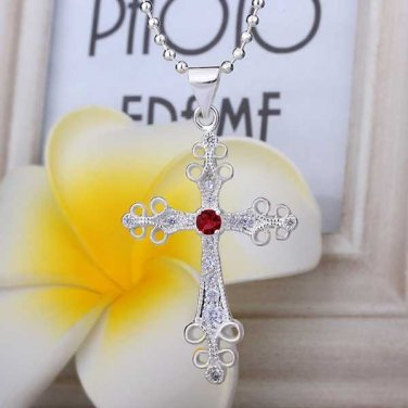 Sterling Silver Jewelry BEAUTIFUL CROSS Pendant Necklace womens accessories