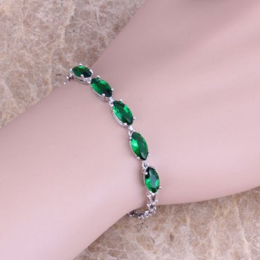 Green EMERALD 925 Sterling Silver Overlay BRACELET 7 inch Free Shipping