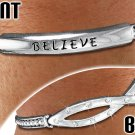 "Silver Stretch Bracelet With ""BELIEVE"" Austrian Crystals Christian Fish"