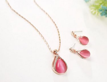 Rose Gold Plated Rose Red Crystal Rhinestone Faux Cat eye's Stone Jewelry Set