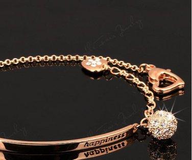 womens Jewelry CZ Diamond Fashion Bracelets Bangles 18K Rose Gold Plated Crystal