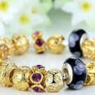 European Style Murano Glass Beads Gold Plated Charm Bracelets & Bangles Vintage