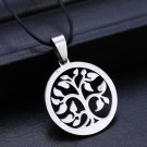 FAMILY Life Tree Pendant Necklaces Jewelry Stainless Steel Necklace Leather