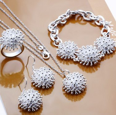 925 silver jewelry set fashion jewelry Nickle free Fireworks Ring Earrings Necklace Jewelry Sets