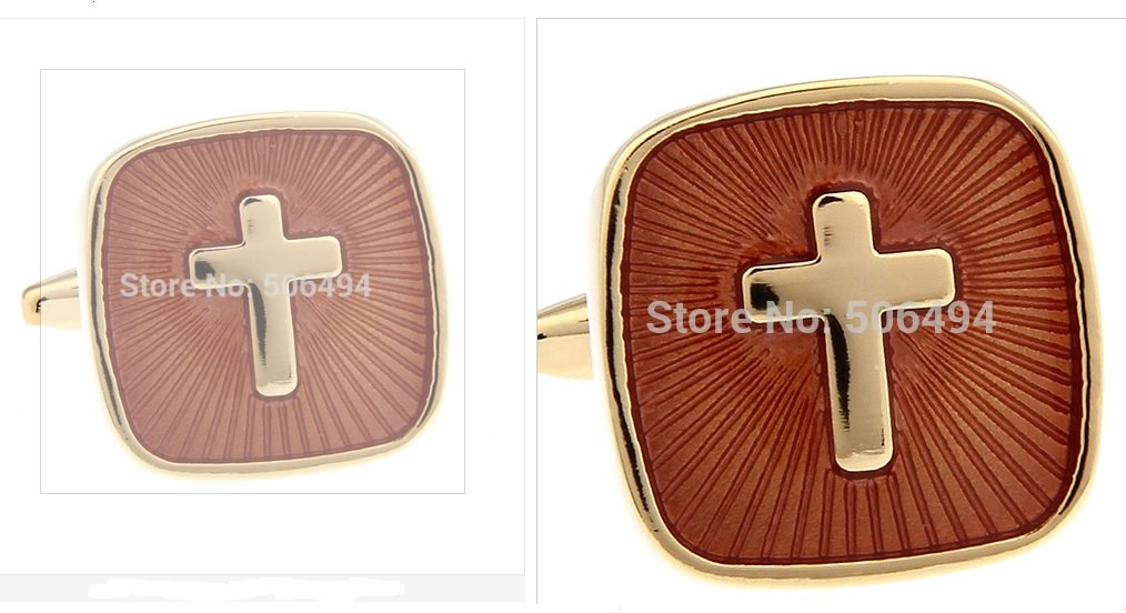 Gold Finish Cross CUFF LINKS gift boxed tie clips