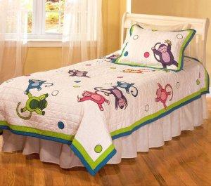 Monkey Business Cotton Patchwork Twin Quilt Set