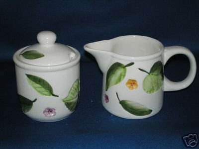 LEAVES & FLOWERS CREAMER AND COVERED SUGAR POT SET