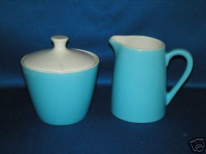 BLUE CREAMER AND COVERED SUGAR BOWL AS SHOWN