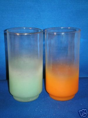 GLASSWARE AS SHOWN~SET OF 2 RETRO FROSTED GLASSES