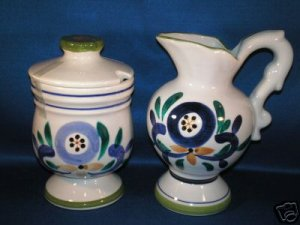 TALL FLORAL CREAMER AND COVERED SUGAR BOWL AS SHOWN