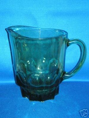 GREEN GLASS BLOCK SHAPED WATER PITCHER
