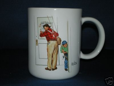 NORMAN ROCKWELL CLOSED FOR BUSINESS COFFEE CUP AS SHOWN