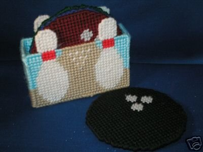 HAND MADE BOWLING DRINK COASTER SET AND HOLDER