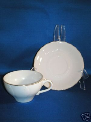 WHITE WITH GOLD TRIM CUP AND SAUCER SET AS SHOWN