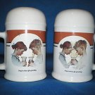 NEWER ROCKWELL'S CORNER MUG SALT PEPPER SHAKERS SETS