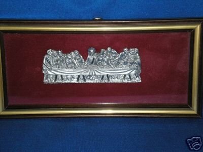 VINTAGE METALLO INCISO A MANO ITALY PEWTER LAST SUPPER