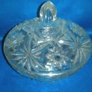 LARGE PRESSED GLASS COVERED STAR PRINT CANDY DISH