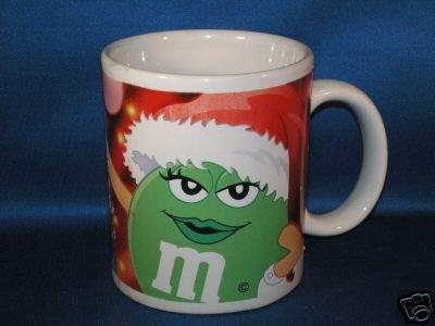 GREEN M & M CHRISTMAS COFFEE MUG AS SHOWN