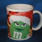 GREEN M & M CHRISTMAS COFFEE MUG AS SHOWN