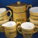 RETRO COFFEE SERVICE FOR 4 WOODEN BARREL DESIGN