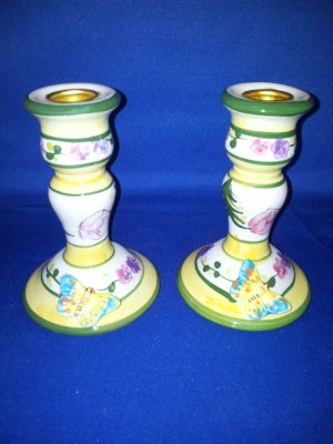 SET OF 2 BUTTERFLY TAPER CANDLE HOLDERS