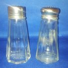 VINTAGE SALT AND PEPPER SHAKERS SET TALL GLASS TABLEWARE