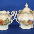 LUSTER FLORAL CREAMER AND SUGAR BOWL AS SHOWN BAVARIA