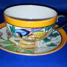 JAPANESE LUSTER FLORAL TEA CUP AND SAUCER SET AS SHOWN