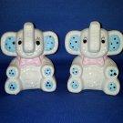 VINTAGE SALT AND PEPPER SHAKERS SET PATCHWORK BABY ELEPHANTS