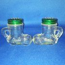 VINTAGE SALT AND PEPPER SHAKERS SET GLASS BOOTS