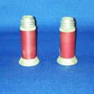 VINTAGE SALT AND PEPPER SHAKERS SET SMALL RED BULLET