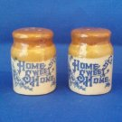 VINTAGE SALT AND PEPPER SHAKERS SET HOME SWEET HOME CROCKS