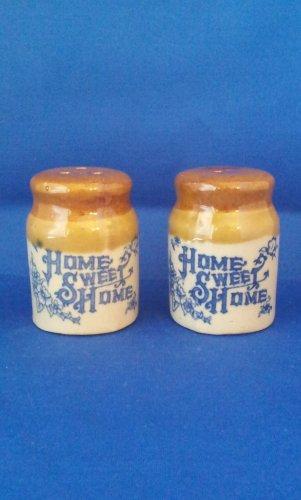VINTAGE SALT AND PEPPER SHAKERS SET HOME SWEET HOME CROCKS