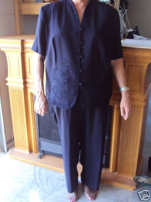 Woman's Size 24W Navy embellished pant suit