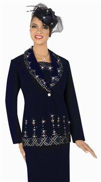woman's  Francessca Bellini 27286 Border Contrast Print 2pc Suit
