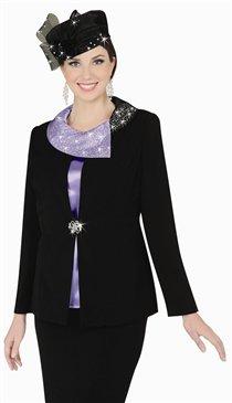 FrancWoman Francessca Bellini 27276 Asymmetric Portrait Collar 3pc Suit