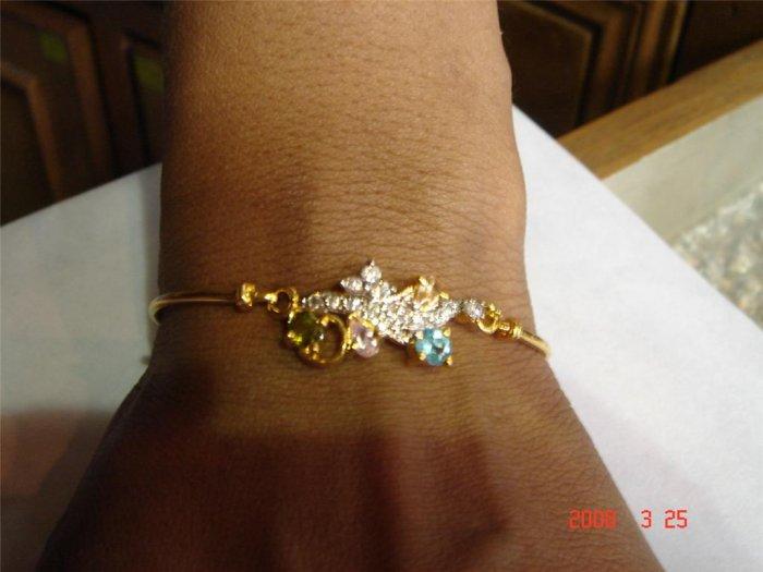 indian designer handmade twotone cz bracelet multicolour