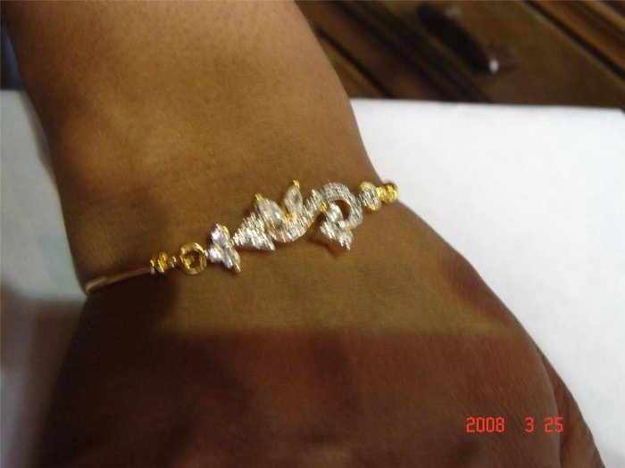 indian designer handmade twotone cz bracelet