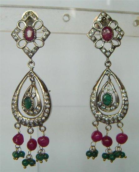 sz 4.5 cz solitaire ruby emerald twotone bangle bracelet jewelery