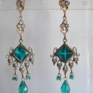 natural ruby emerald antique style cz dangler earing jewelery