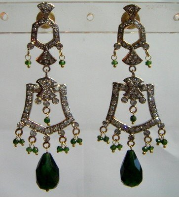 green matching antique style cz dangler earing jewelery