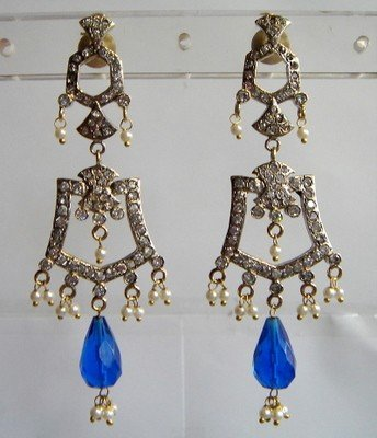 maroon matching antique style cz chandelier earing jewelery