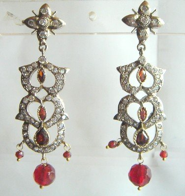 pink matching antique style cz dangler earing jewelery