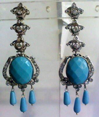 orange matching antique style cz dangler earing jewelery