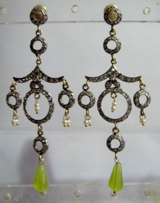 pearl beaded antique style cz dangler earing jewelery