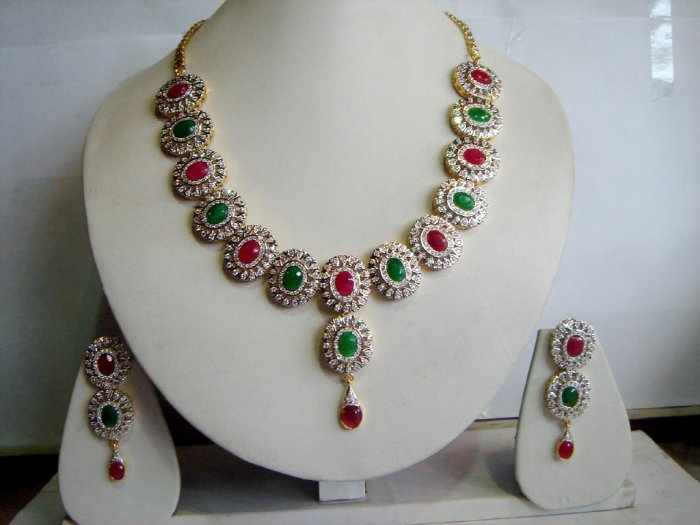red matching antique style cz dangler earing jewelery